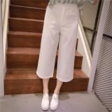 韓版修身着やせハイウエストストライプ7分ワイドパンツ