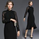 結婚式 パーティードレス 袖あり 大きいサイズ ロング お呼ばれドレス 韓国 ワンピース シースルー レディース 黒