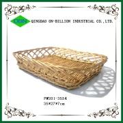 長角型積め重ねるラタン柳トレー 天然素材自然素材パントレーパンかごフルーツトレー果物用トレー トレーバスケット
