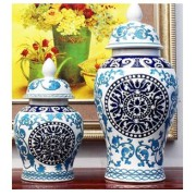 高級陶器 中国陶磁花瓶 青花磁 染付け磁器