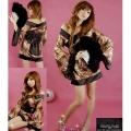 TMZF-M00382コスプレ 衣装 レディース 着物 レオパード  豹柄 ヒョウ柄  花魁  和服