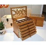 木製クローバジュエリーボックス 引き出し5段アクセサリーケース 宝石ボックス