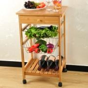 キッチン収納チェスト 収納ラック 下置きスライダー 竹製 オシャレ