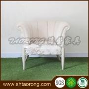欧米風デザイン柄クッション付き木製ソファ