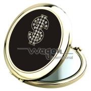 携帯便利な円形で真ん中に好みの図案を入れるミラーケース、材質:亜鉛合金